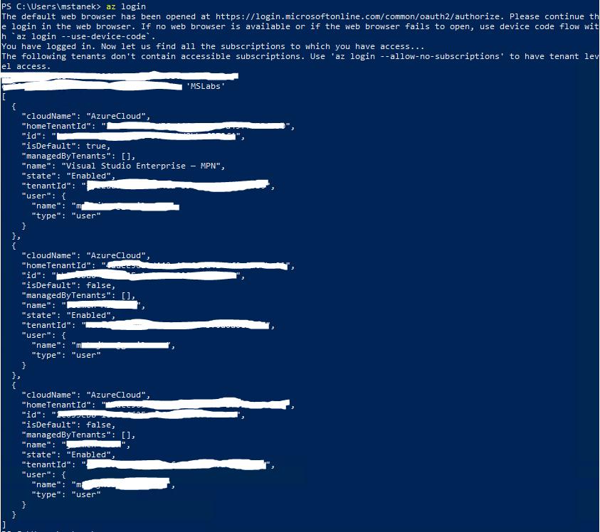 Wynik zalogowania do Azure przy użyciu CLI